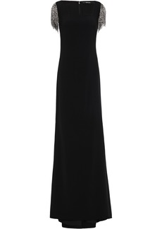 Badgley Mischka Woman Beaded Fringe-trimmed Cady Gown Black