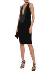 Badgley Mischka Woman Beaded Fringe-trimmed Velvet Halterneck Dress Black