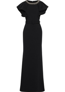 Badgley Mischka Woman Belted Crystal-embellished Ruffled Cady Gown Black