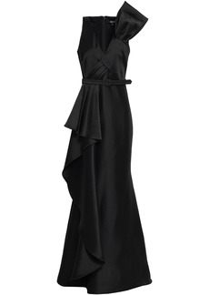 Badgley Mischka Woman Belted Draped Duchesse-satin Gown Black