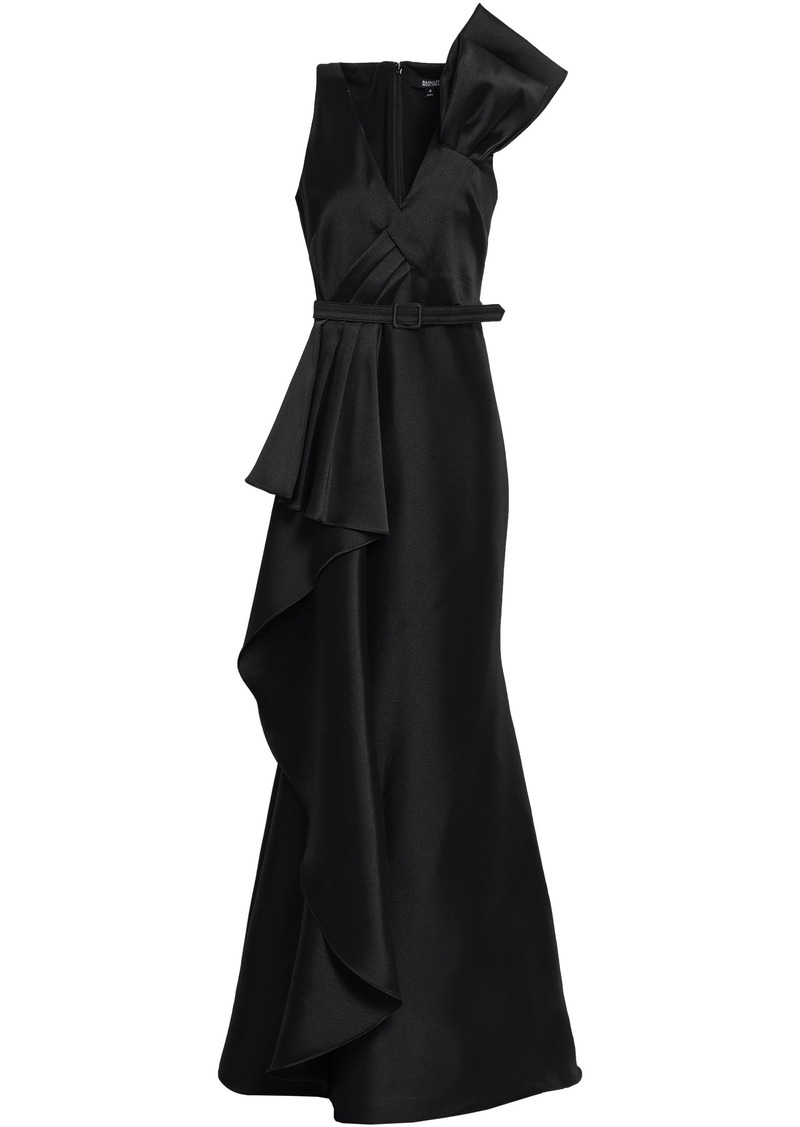 Badgley Mischka Woman Belted Draped Duchesse-satin Gown Black