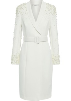 Badgley Mischka Woman Belted Faux Pearl-embellished Cady Dress Off-white