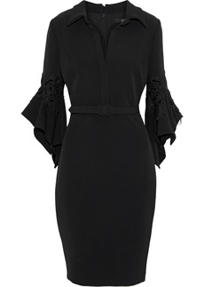 Badgley Mischka Woman Belted Flocked Lace-appliquéd Cady Dress Black