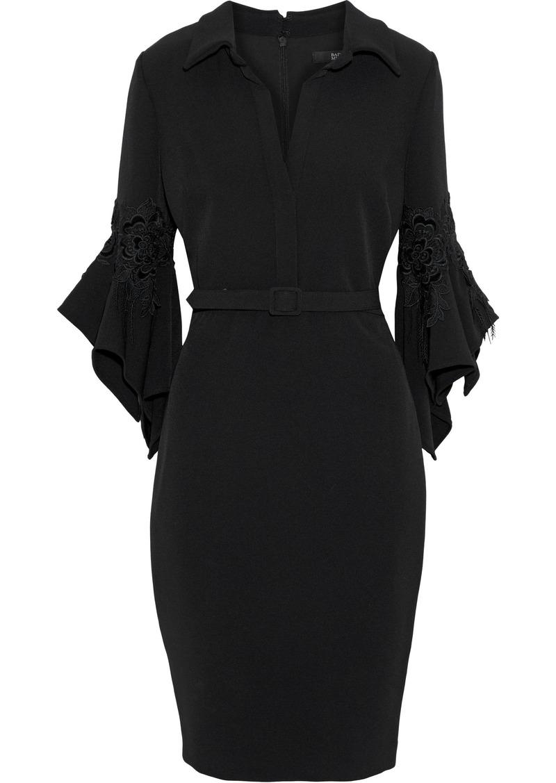 Badgley Mischka Woman Belted Flocked Lace-appliquéd Cady Dress Black