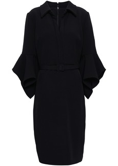 Badgley Mischka Woman Belted Fluted Crepe Dress Black