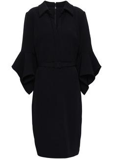 Badgley Mischka Woman Belted Fluted Crepe Dress Black
