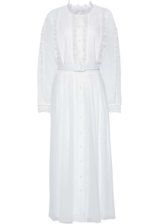 Badgley Mischka Woman Belted Guipure Lace-paneled Chiffon Midi Dress White