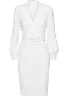 Badgley Mischka Woman Belted Pleated Stretch-cady Dress White
