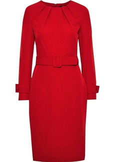 Badgley Mischka Woman Belted Pleated Stretch-crepe Dress Red