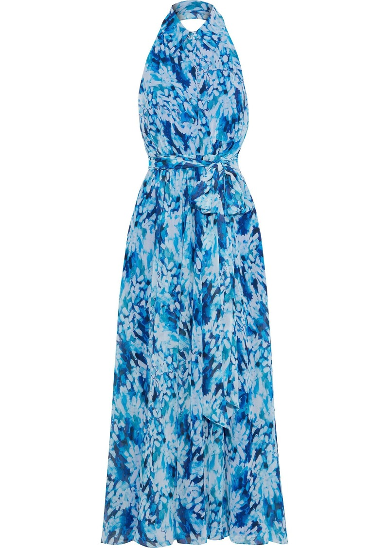 Badgley Mischka Woman Belted Printed Chiffon Halterneck Gown Indigo