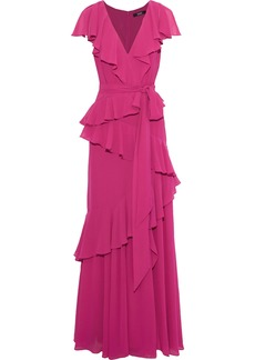 Badgley Mischka Woman Tiered Ruffled Georgette Gown Magenta