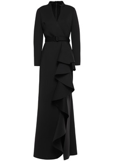 Badgley Mischka Woman Belted Ruffled Neoprene Gown Black