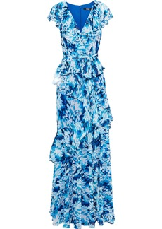 Badgley Mischka Woman Belted Ruffled Printed Chiffon Gown Light Blue