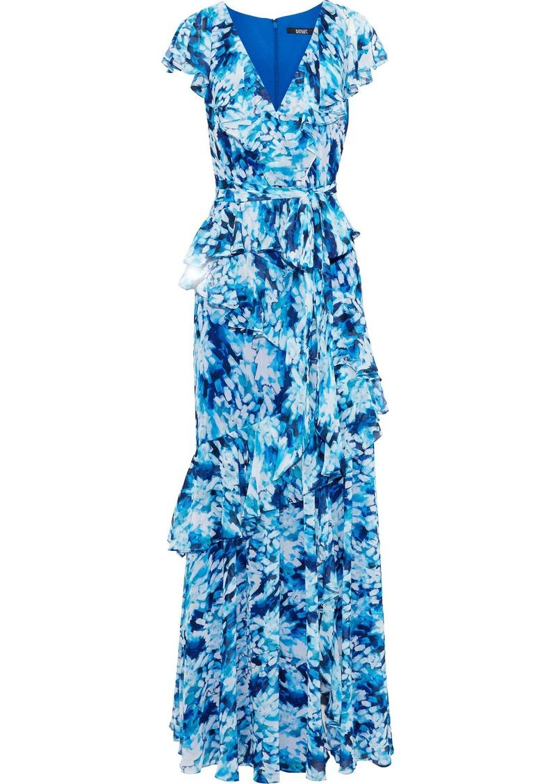 Badgley Mischka Woman Belted Ruffled Printed Chiffon Gown Light Blue