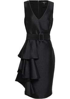 Badgley Mischka Woman Belted Ruffled Satin-twill Dress Black