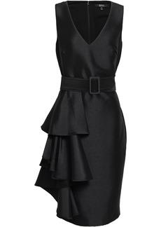 Badgley Mischka Woman Belted Ruffled Satin-twill Dress Black