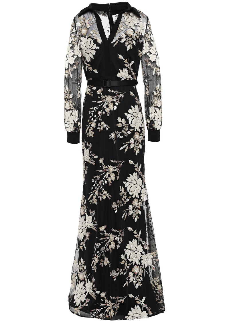 Badgley Mischka Woman Belted Sequin-embellished Tulle And Crepe Gown Black