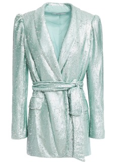 Badgley Mischka Woman Belted Sequined Tulle Blazer Turquoise