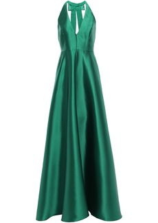 Badgley Mischka Woman Open-back Bow-embellished Duchesse-satin Gown Emerald