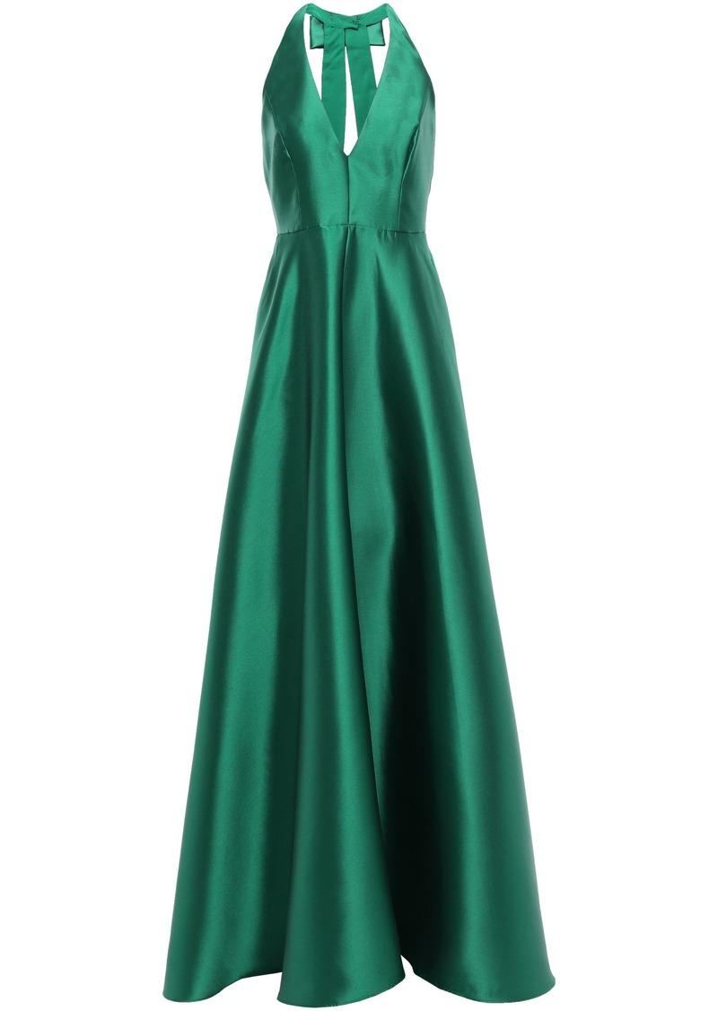 Badgley Mischka Woman Open-back Bow-embellished Duchesse-satin Gown Emerald