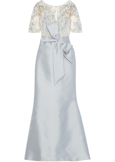 Badgley Mischka Woman Bow-detailed Embroidered Tulle-paneled Faille Gown Silver