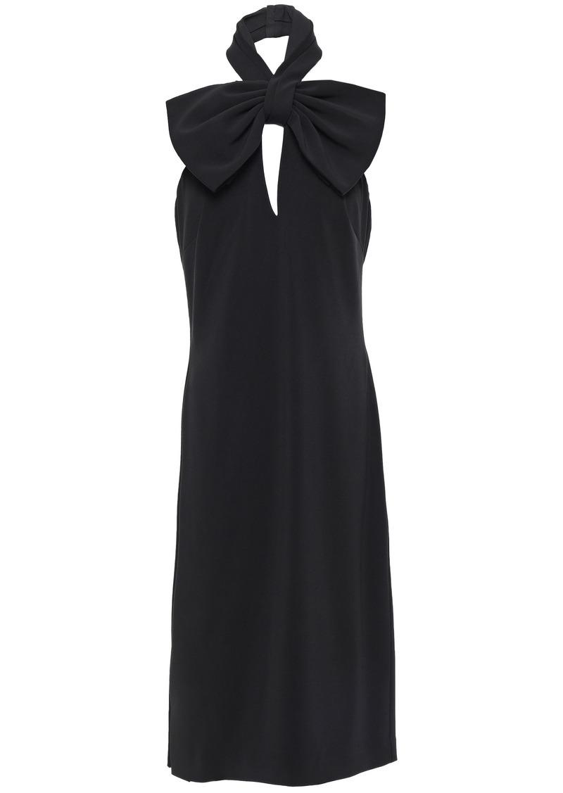 Badgley Mischka Woman Bow-embellished Stretch-cady Halterneck Dress Black