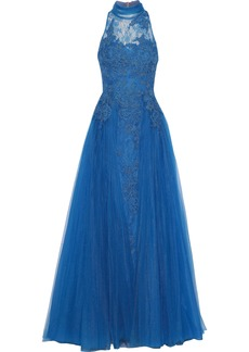 Badgley Mischka Woman Bow-embellished Corded Lace And Tulle Gown Azure