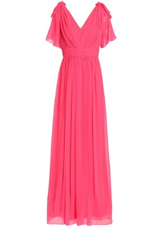 Badgley Mischka Woman Bow-embellished Pleated Georgette Gown Pink
