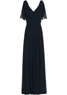 Badgley Mischka Woman Bow-embellished Pleated Georgette Gown Navy