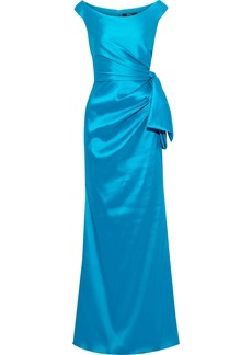Badgley Mischka Woman Bow-embellished Faille Gown Turquoise