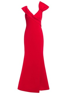 Badgley Mischka Woman Bow-embellished Scuba Gown Tomato Red