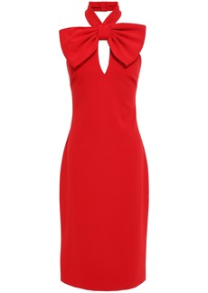 Badgley Mischka Woman Bow-embellished Stretch-cady Halterneck Dress Red