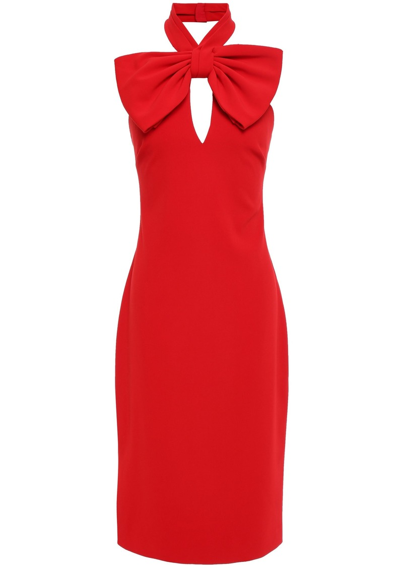 Badgley Mischka Woman Bow-embellished Stretch-cady Halterneck Dress Red