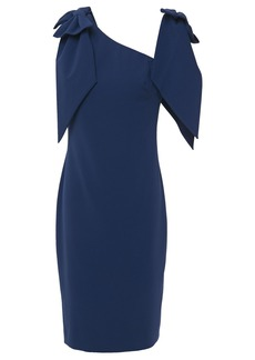 Badgley Mischka Woman Bow-embellished Stretch-crepe Dress Midnight Blue