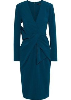 Badgley Mischka Woman Bow-embellished Stretch-crepe Dress Teal