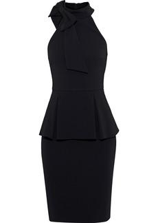 Badgley Mischka Woman Bow-embellished Stretch-crepe Peplum Dress Black