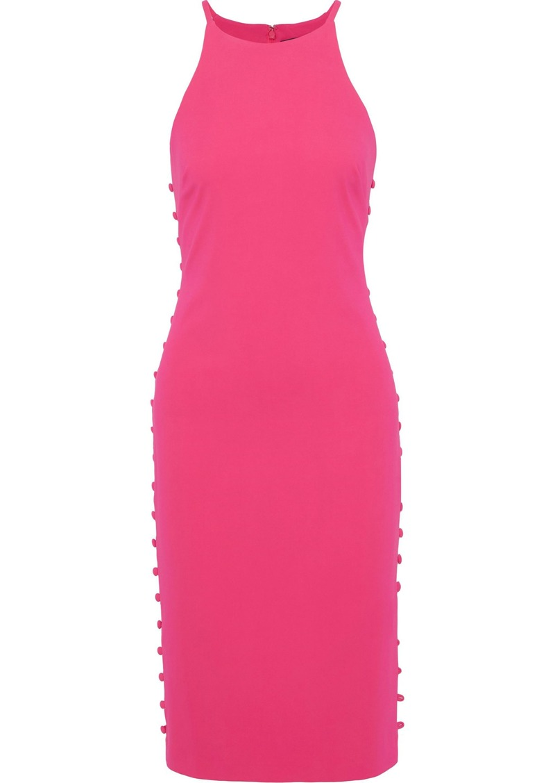 Badgley Mischka Woman Button-detailed Crepe Dress Bright Pink