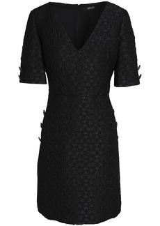 Badgley Mischka Woman Button-embellished Metallic Matelassé Mini Dress Black