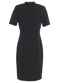Badgley Mischka Woman Button-embellished Textured-crepe Dress Black