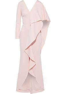 Badgley Mischka Woman Cape-effect Draped Neoprene Gown Blush