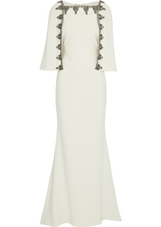Badgley Mischka Woman Cape-effect Embellished Crepe Gown Ivory