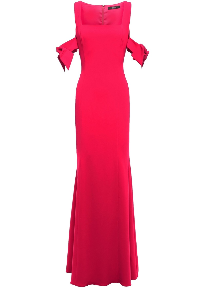 Badgley Mischka Woman Cold-shoulder Bow-detailed Stretch-crepe Gown Red