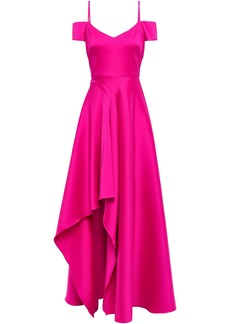 Badgley Mischka Woman Cold-shoulder Faille Gown Magenta