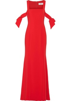Badgley Mischka Woman Cold-shoulder Stretch-cady Gown Red