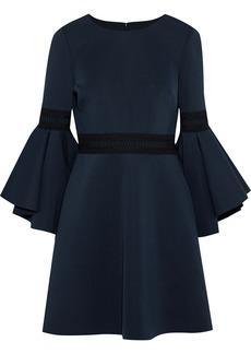 Badgley Mischka Woman Crochet-trimmed Ponte Mini Dress Midnight Blue