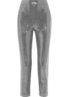 Badgley Mischka Woman Cropped Sequined Metallic Stretch-jersey Slim-leg Pants Silver