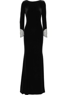 Badgley Mischka Woman Crystal-embellished Tulle-trimmed Draped Velvet Gown Black
