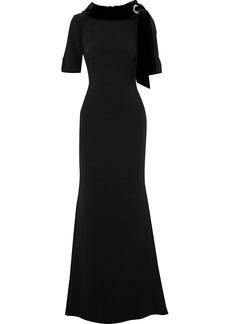 Badgley Mischka Woman Crystal-embellished Velvet-trimmed Crepe Gown Black