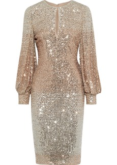 Badgley Mischka Woman Cutout Dégradé Sequined Mesh Dress Rose Gold
