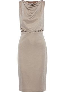 Badgley Mischka Woman Cutout Draped Metallic Jersey Dress Mushroom